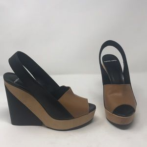 Pierre Hardy Tan Black Wedge Sandals Shoes